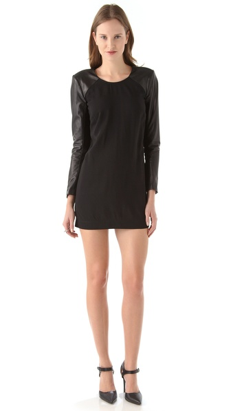 Mason by Michelle Mason Leather Sleeve Shift Dress