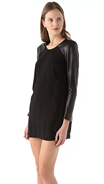 Michelle Mason Leather Sleeve Shift Dress