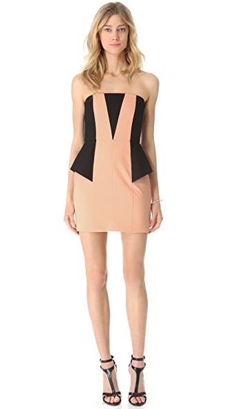 Michelle Mason Contrast Strapless Dress