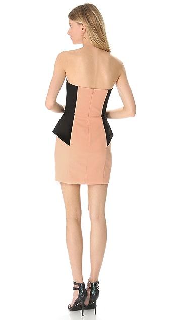 Michelle Mason Contrast Strapless Dress