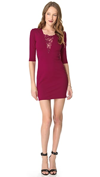 Michelle Mason Long Sleeve Lace Inset Dress
