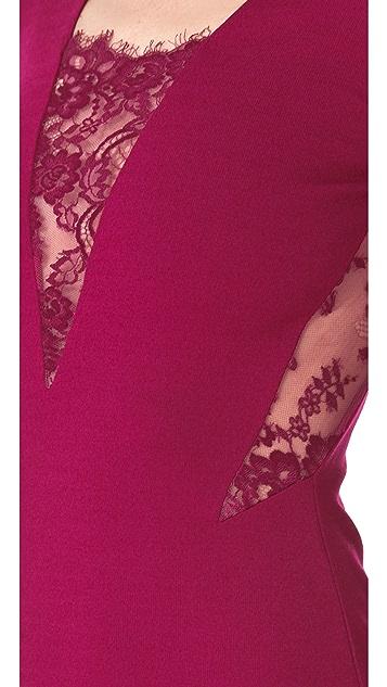 Michelle Mason Long Sleeve Lace Inset Dress