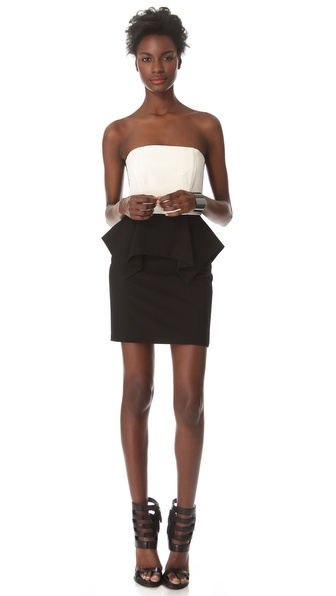 Mason by Michelle Mason Lambskin Peplum Dress