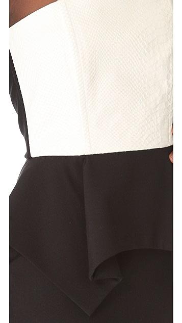 Michelle Mason Lambskin Peplum Dress