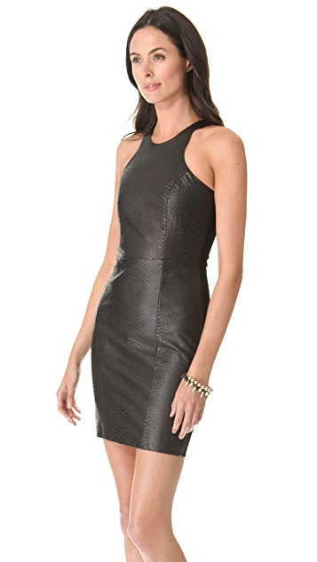Michelle Mason Leather Front Dress