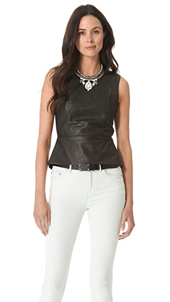 Michelle Mason Leather Front Peplum Top