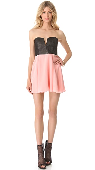 Michelle Mason Strapless Leather Bodice Dress