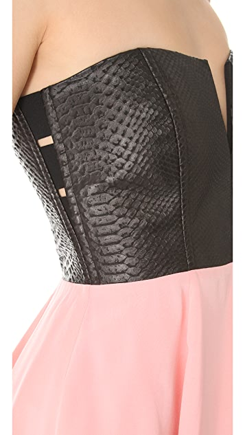 Michelle Mason Strapless Leather Bodice Dress