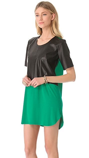 Michelle Mason Leather Front Tee Dress