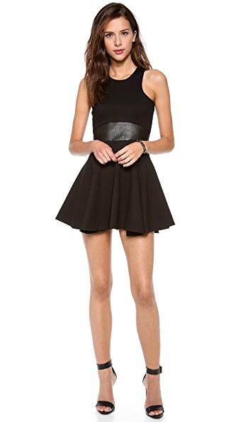 Michelle Mason Leather Trim Ponte Dress