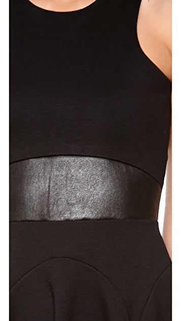 Michelle Mason Leather Trim Ponte Dress