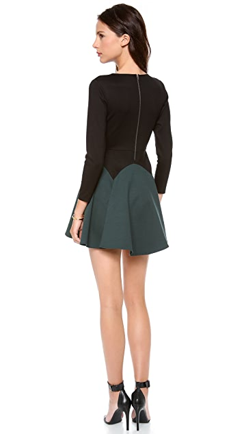 Michelle Mason Long Sleeve Flare Dress