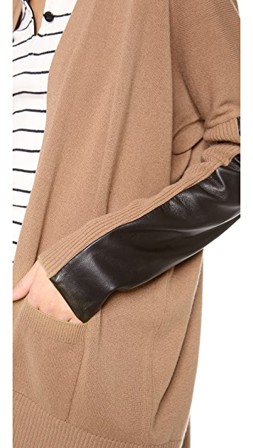 Michelle Mason Leather Sleeve Cardigan