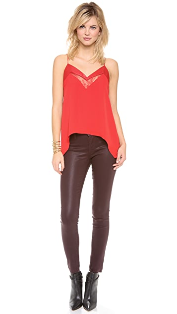Michelle Mason Leather & Lace Cami