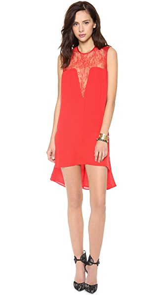 Michelle Mason Leather & Lace Shift Dress