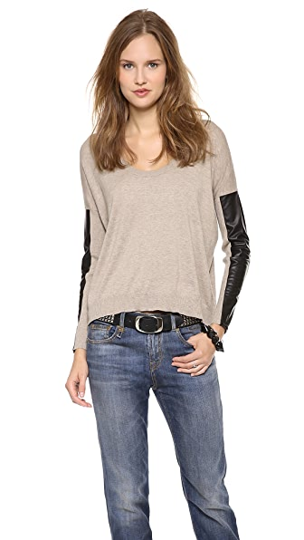 Michelle Mason Leather Sleeve Sweater