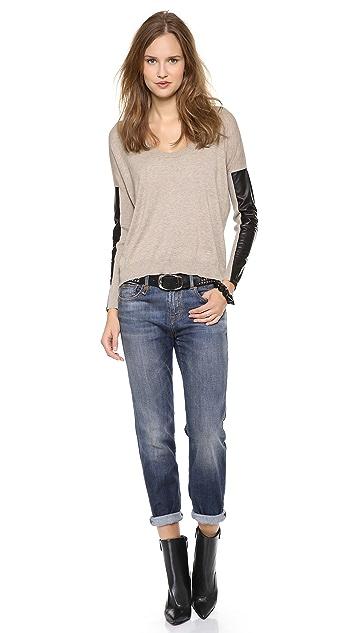 Michelle Mason Leather Sleeve Sweater