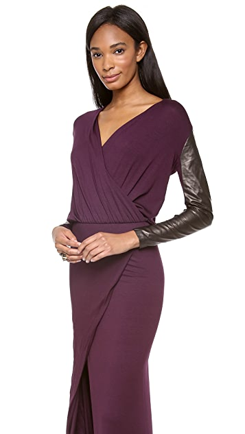 Michelle Mason Long Sleeve Wrap Gown