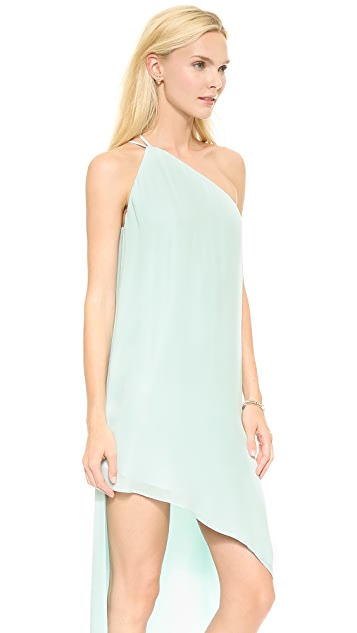 Michelle Mason Asymmetrical One Shoulder Maxi Dress