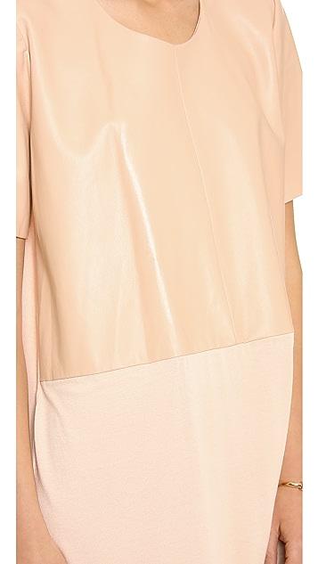 Michelle Mason Leather Front Tee Dress