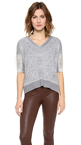 Mason by Michelle Mason Leather Sleeve Pullover