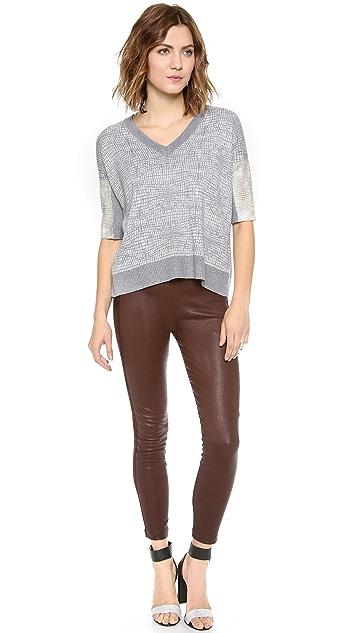 Michelle Mason Leather Sleeve Pullover