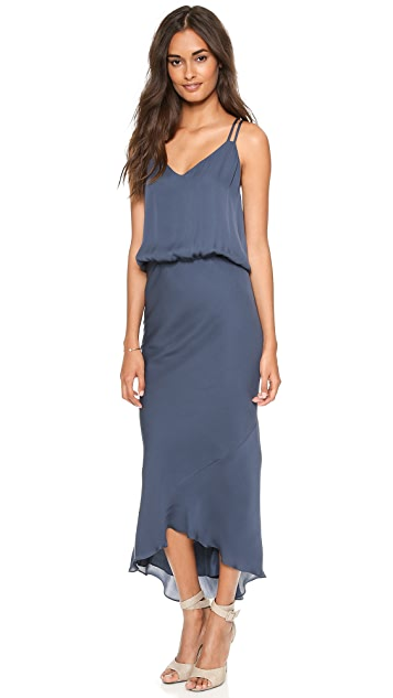 Michelle Mason Double Strap Bias Maxi Dress