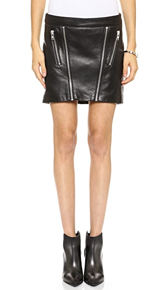 Mason by Michelle Mason Leather Zip Miniskirt
