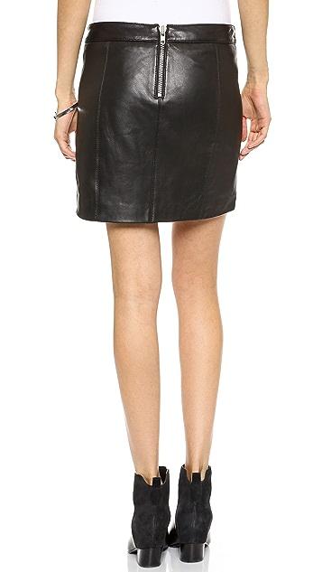 Michelle Mason Leather Zip Miniskirt