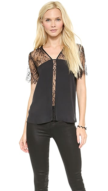 Michelle Mason Short Sleeve Top with Lace