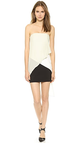 Mason by Michelle Mason Strapless Contrast Dress
