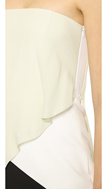 Michelle Mason Strapless Contrast Dress