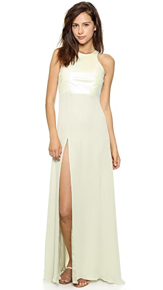 Michelle Mason Leather Racer Bodice Gown