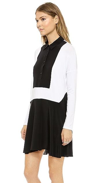 Michelle Mason Jersey & Silk Dress with Bib