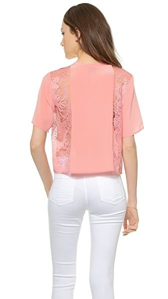 Mason By Michelle Mason Crop Tee With Lace - Rose
