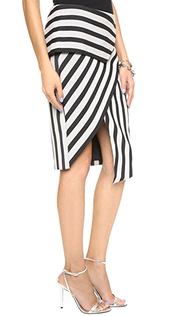 Michelle Mason Asymmetrical Stripe Peplum Skirt