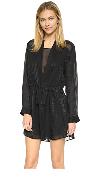 Mason By Michelle Mason Shirtdress With Sheer Insets - Black