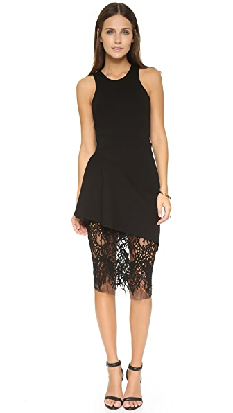 Mason By Michelle Mason Racer Dress With Lace Skirt - Black