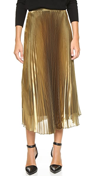Mason By Michelle Mason Pleated Iridescent Skirt - Gold