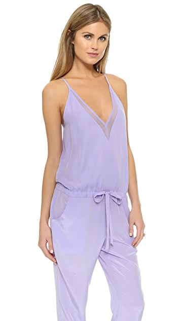 Michelle Mason Chiffon Panel Silk Jumpsuit