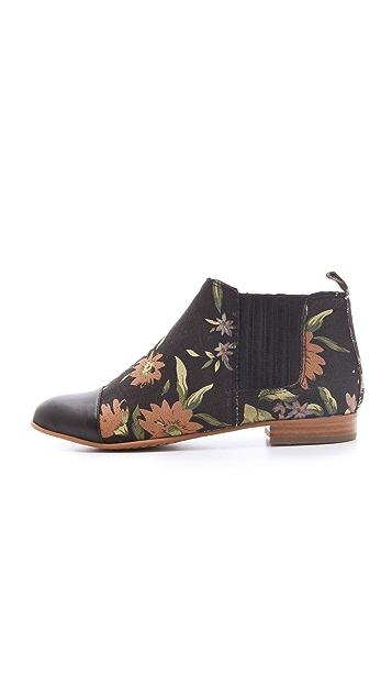 Matiko Jasper Floral Booties with Cap Toe