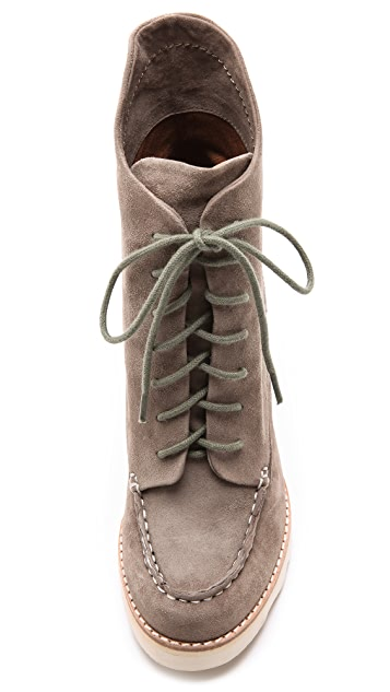 Matiko Cooper Lace Up Wedge Booties