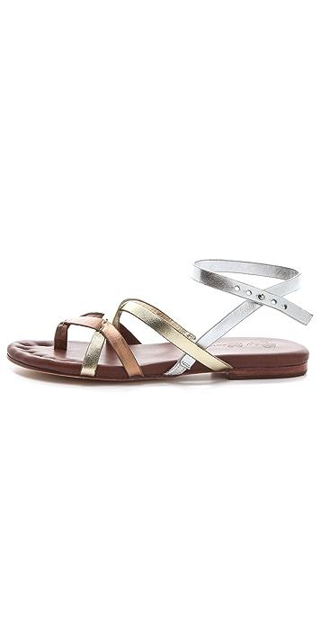 Matt Bernson Jack Metallic Strappy Flat Sandals
