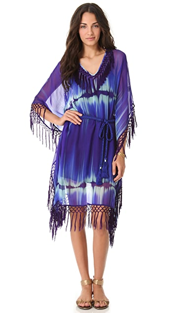Matthew Williamson Escape Fringed Square Cover Up Dress