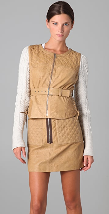 Matthew Williamson Angler Leather Jacket with Knit Sleeves