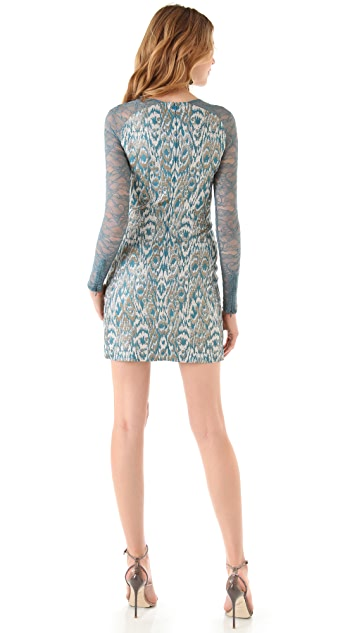 Matthew Williamson Jacquard Dress with Lace Sleeves