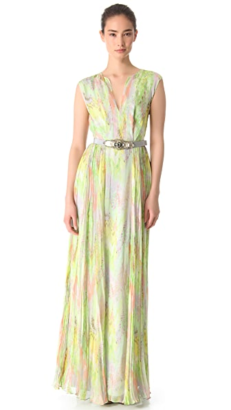 Matthew Williamson V Neck Panel Gown