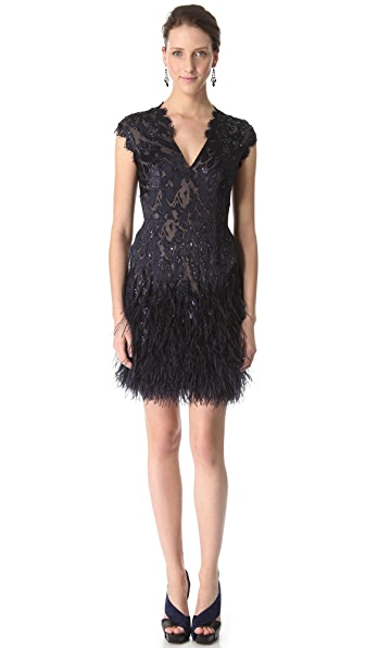 Matthew Williamson Flocked Feather Dress