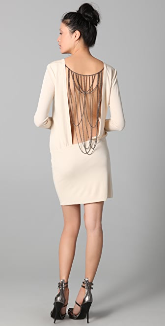 MAXAZRIA Mini Dress with Chain Back