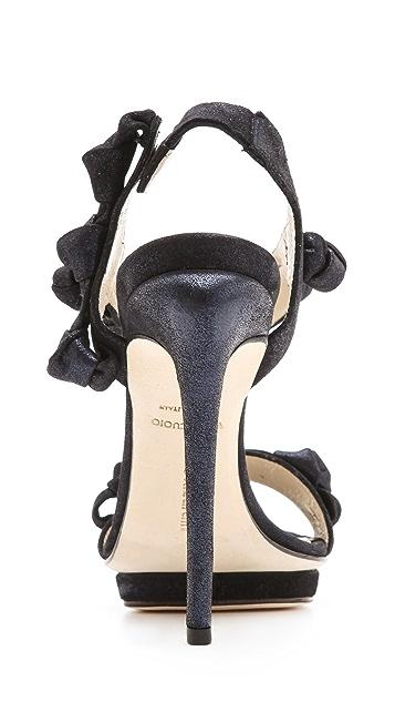 Max Kibardin Gemma Flower Suede Sandals